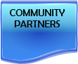 community partners in black text on blue background
